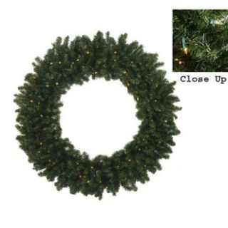 6' Pre Lit Commercial Size Canadian Pine Artificial Christmas Wreath   Clear Lights