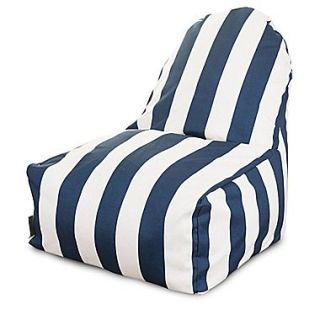 Majestic Home Goods Indoor/Outdoor Vertical Stripe Polyester Kick It Bean Bag Chair, Navy Blue