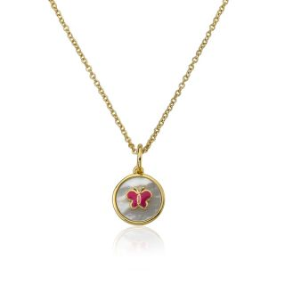 14k Goldplated Dangling Hearts and Pink Cat Eye 14 inhc Necklace