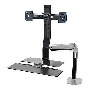 Ergotron WorkFit A Sit Stand Workstation   For Dual Monitors, Height adjustable, Keyboard Folds Up, Cable Management Clips   24 272 026