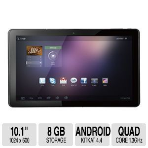 Envizen 10.1 8GB HD Quad Core Tablet   Android 4.4 KitKat, Muti touch Screen, 1024 x 600, 8GB Internal Flash, 1GB Memory, Micro SD(up to 32GB), Dual Cameras, Bluetooth, WiFi   V100MDT