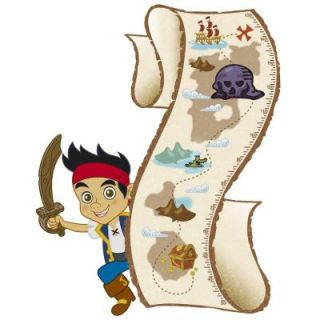 RoomMates 27 in. Multi Color Jake and the Never Land Pirates Peel and Stick Metric Growth Chart Wall Decals INT1955SLM