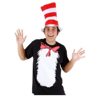Elope Costumes Mens Cat in the Hat T Shirt and Hat Adult Costume Small Black