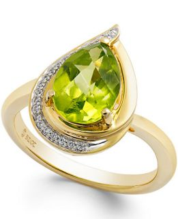 Peridot (9/10 ct. t.w.) and Diamond Accents Pear Shape Ring in 14k