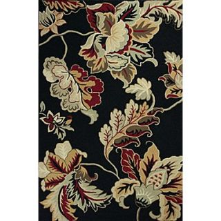 KAS Rugs Colonial Black / Gray Floral Area Rug; 53 x 83