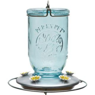 Perky Pet Mason Jar Glass Hummingbird Feeder