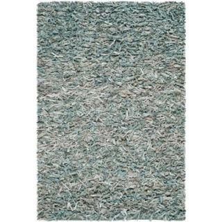 Safavieh Leather Shag Light Blue 3 ft. x 5 ft. Area Rug LSG511L 3