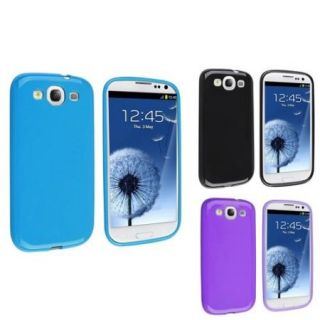 Insten Blue+Black+Purple TPU Rubber Silicone Gel Phone Case For Samsung Galaxy S3 SIII i9300