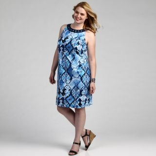Jessica Howard Womens Plus Size Allover Printed Shift Dress FINAL