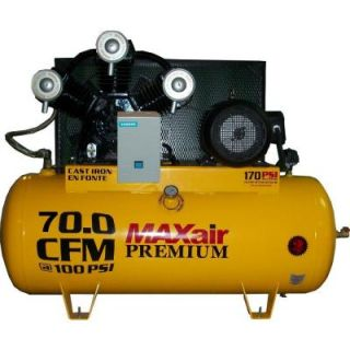 Maxair Premium Industrial 120 Gal. 15 HP Electric 230 Volt Single Stage 3 Phase Air Compressor C153120H1 MS230 MAP