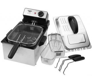 Waring Pro Stainless Steel 1800 Watt Deep Fryer w/ 3 Baskets —