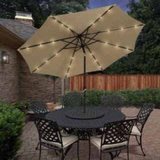 Best Choice Products 10' Deluxe Solar LED Lighted Patio Umbrella With Tilt Tan