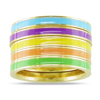 by Miadora Five Piece Set of Multi Colored Enamel Rings   14382118