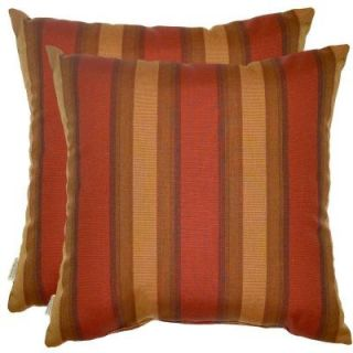 Hampton Bay Red Stripe Outdoor Throw Pillow (2 Pack) 7100 02222700