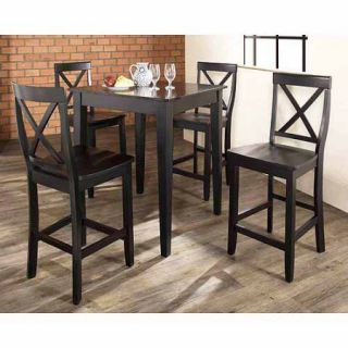 Crosley Furniture 5 Piece Pub Dining Set with Tapered Leg and X Back Stools