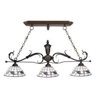 Dale Tiffany Iron 3 Light Hanging Antique Bronze Chandelier STH11040