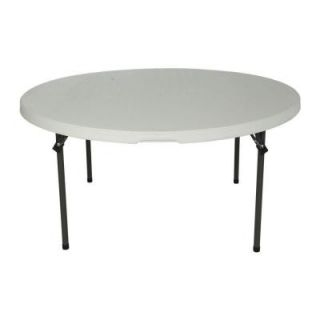 Lifetime 60 in. White Round Granite Commercial Stacking Folding Table 280301