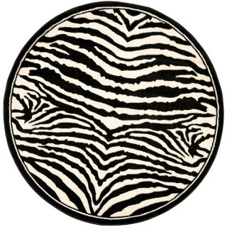 Safavieh Lyndhurst White and Black Round Indoor Machine Made Area Rug (Common 5 x 5; Actual 63 in W x 63 in L x 0.42 ft Dia)