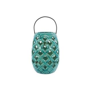 Urban Trends Ceramic Lantern with Metal Handle Gloss White
