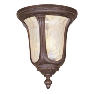 Livex Lighting Providence Collection 2 Light 13.75 in. Outdoor Imperial Bronze Amber Water Glass Flush Mount 7661 58