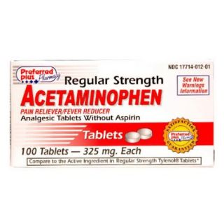 Acetaminophen Pain Reliever And Fever Reducer Regular Strength 325Mg Tablets   100 Ea
