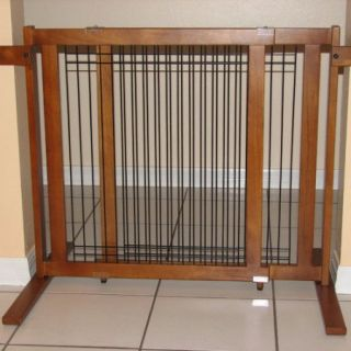 Crown Pet Free Standing Tall Height Wood Pet Gate with Security Arms