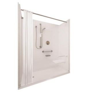 Ella Elite Satin 31 in. x 60 in. x 77 1/2 in. 5 piece Barrier Free Roll In Shower System in White with Left Drain 6030 BF 5P 1.0 L WH ELS