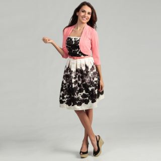 Jessica Howard Womens Floral Printed Dress with Sweater