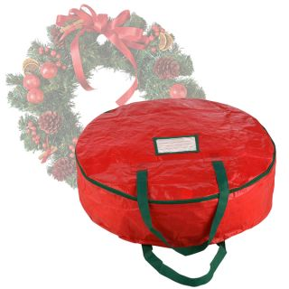 Elf Stor Premium Red Holiday Christmas Wreath Storage Bag For 24 inch