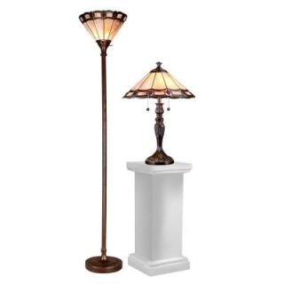 Radionic Hi Tech Taska 70.00 in. Dark Bronze Hand Rolled Art Glass Table Lamp and Floor Lamp Set DT_TLFL_TC15045_RHT