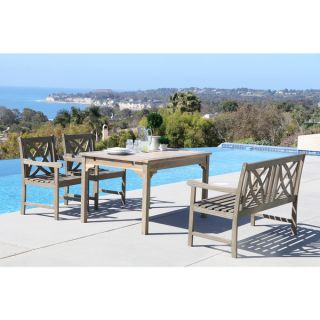 Renaissance Eco friendly 4 piece Outdoor Hand scraped Hardwood Dining