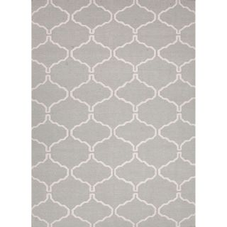 Handmade Flat Weave Moroccan Pattern Grey/ White Rug (36 x 56