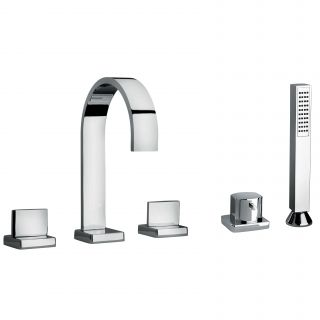 J15 Bath Series Two Lever Handle Roman Tub Faucet and Hand Shower with