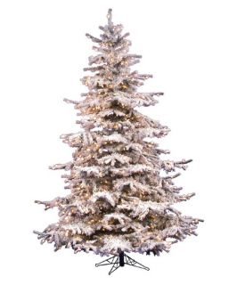 Vickerman Flocked Sierra Pre lit Christmas Tree   Christmas Trees