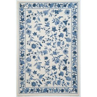 KAS Rugs Colonial Ivory/Blue Floral Area Rug