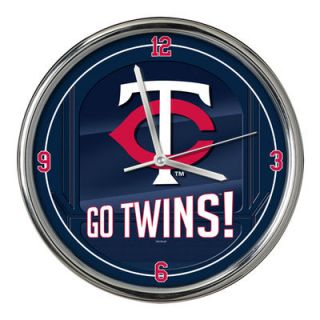Minnesota Twins Go Team Chrome Wall Clock