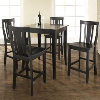 Crosley Furniture KD520002BK 5 Piece Pub Dining Set with Cabriole Leg and Shield Back Stools in Black Finish