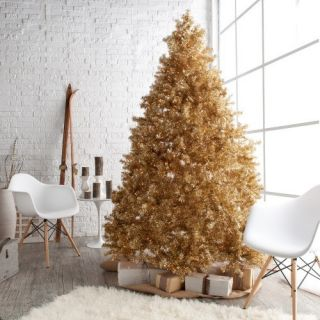 Classic Champagne Gold Full Pre lit Christmas Tree   Christmas Trees
