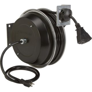 Strongway Retractable Cord Reel — 75-Ft., 12/3, Triple Tap  Cord Reels