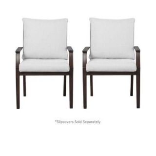 Hampton Bay Millstone Patio Dining Chair with Cushion Insert (2 Pack) (Slipcovers Sold Separately) FCA65098 TPKBAR