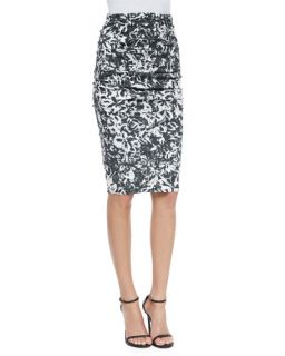 Nicole Miller Floral Print Pencil Skirt, Black/White