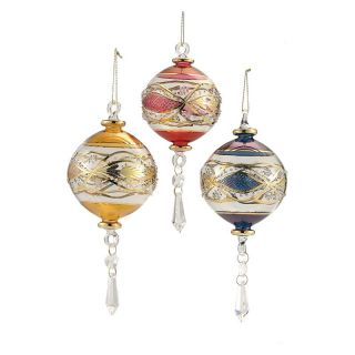 Kurt Adler Luxor Blown Glass Ornament   Set of 3   Ornaments