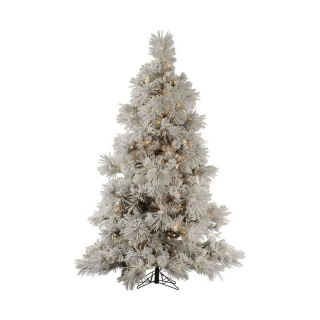 Vickerman 8 ft Pre Lit Flocked Artificial Christmas Tree with Clear White Incandescent Lights