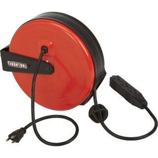 Ironton Retractable Cord Reel — 30-Ft., 16/3, Triple Tap  Cord Reels