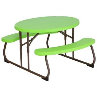 Lifetime Children's 34 in. L Resin Oval Picnic Table in Lime Green 60132