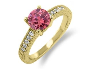 1.45 Ct Round Pink Diamond White Sapphire 18K Yellow Gold Plated Silver Ring