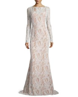 Carmen Marc Valvo Long Sleeve Bateau Neck Lace Gown, Ivory/Nude