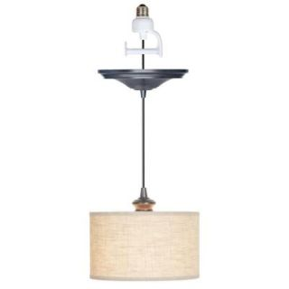 Worth Home Products 1 Light Brushed Bronze Instant Pendant Conversion Kit with Linen Fabric Shade PBN 3729 0011