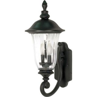16.66 in H Textured Black Outdoor Wall Light