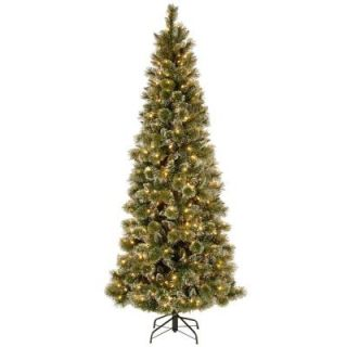 National Tree Company 7.5 ft. Glittery Bristle Pine Slim Artificial Christmas Tree with Warm White LED Lights GB3 319 75